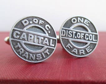 WASHINGTON DC Capital Transit Token Cuff Links - Silver, Repurposed Vintage D.C. Coins