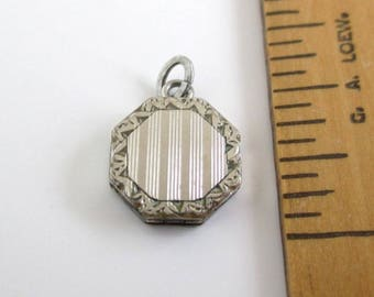 Tiny Locket Charm or Pendant - Vintage Silver Tone, 10mm