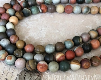 "8mm Matte Polychrome Desert Jasper Smooth Round Gemstone Beads 16"" strand - Earthy Rustic Boho Mala Healing Chakra - Central Coast Charms"