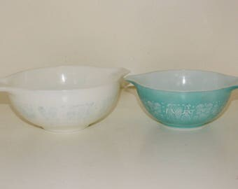 Pyrex Vintage Butterprint Two Cinderella Bowls - Very Faded - Inside is Great, Outside is Awful - #442 and #443