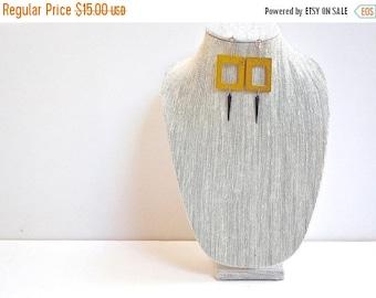CIJ SALE Yellow Wood Earrings, Geometric, Modern Retro Chandelier Drop Earrings with Black Beads and Silver Hooks