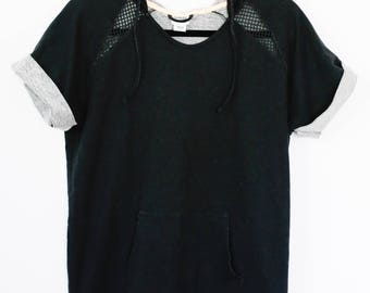 Awesome Vintage Everlast Black and Net Goth Dark Fresh Short Sleeve Top With Hood Unisex