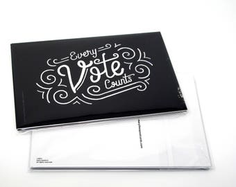 "Political Postcards: Set of 5 ""Every Vote Counts"" postcards, perfect for writing to your reps or get out the vote"