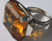 20% off Vintage Large Sterling and Amber Color Stone Cocktail Ring