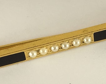 Vintage Foster and Bailey Bar Brooch Victorian Enamel Pearls Gold Tone or Wash 1800's