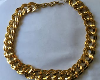 Vintage Monet Gold Tone Double Ring Necklace Hefty Statement Piece