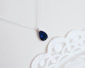 Blue Sapphire Necklace, Blue Sapphire Tiny Teardrop Cubic Zirconia Necklace, Bridesmaids Gift, Cubic Zirconia Dainty Everyday Necklace