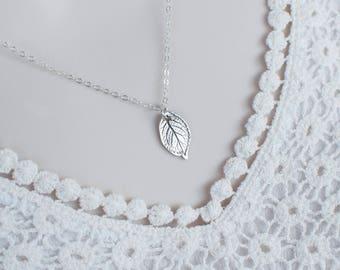 Tiny Sterling Silver Rose Leaf Necklace, Sterling Silver Rose Leaf Necklace, Petite Leaf Necklace, Modern Minimalist Everyday Wear Necklace