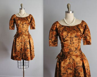 50's Cocktail Dress // Vintage 1950's Bronze Floral Satin Cocktail Party Dress
