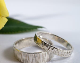 White Gold Bark Wedding Bands: A Set of his and hers 18k White Gold wedding rings