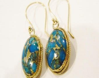 22k Solid Gold Blue Turquoise  Earrings Handmade