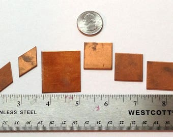 Copper Squares and Rectangles 6 Blank Shapes for Copper Enameling and other Crafts Rectangle Diamonds and Square Copper Shapes for Enameling