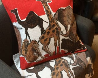 Mid Century Vintage Barkcloth Cushion cover -  a rare HEALS Animal fabric !