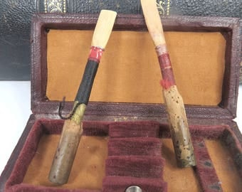 Antique Oboe Reed Leather Case & 2 Handmade Reeds 3 Reed Holder Musicians Carrying Case
