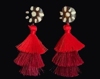 Ombre Batik earrings - Red