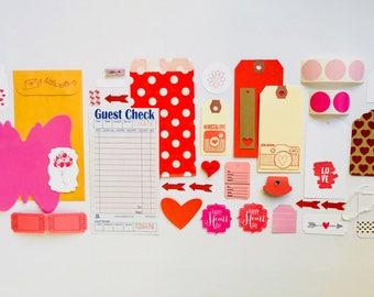 Valentine Day Embellishment Kit, Tags, Valentines Day, Heart Button, Arrows, Mason Jar, Planner Supplies, Ephemera, Paper Clips