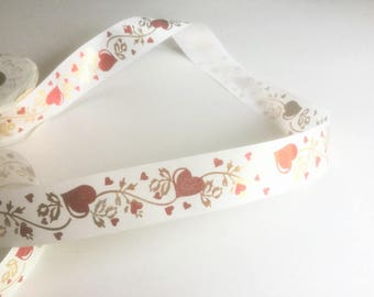 Vintage Ribbon, Hearts on a Vine Ribbon, 20 Yds #9 Specialty Ribbon, Valentine Ribbon, Red & Gold on White