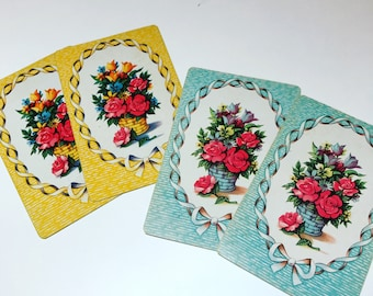 Vintage Floral Playing Cards Scrapbook Journal Paper Craft