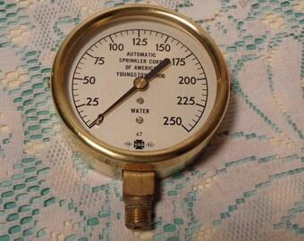 Vintage Industrial Brass Pressure Gauge, Fire Protection Water Gauge 1967  -  17-477