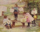 Antique Unused Art Postcard Children Doing Laundry Quote from Frederick Locker Poem