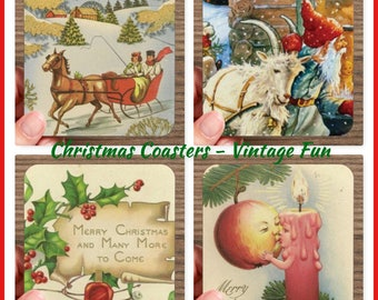 Set of 4 High Gloss VINTAGE CHRISTMAS FUN Coasters   – Cork Back in Storage Case – Vintage Inspired Holiday Decor