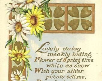 Daisy and Golden Hearts Stunning Embossed Vintage Whitney Postcard Unused With Romantic - Verse Lovely Daisy Meekly Hiding