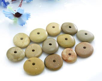 Center Drilled Beach Stones Medium Roundish Donut Pebbles 12 pcs -Organic Eco friendly Beads -Jewelry Supplies