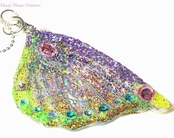 Necklace of magical butterfly wing yellow green, purple, with crystal rhinestones, multicolored,
