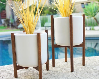 Staggered Pair of Modern Ceramic Planters & Quad Base Stands - White or Green - Mid Century Eames Era Bullet Vintage Style Pottery Walnut IP