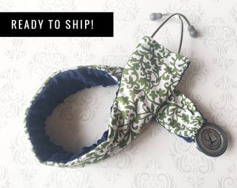 READY TO SHIP - Padded Stethoscope Cover, Sleeve, Slipcover, Nurse, Doctor, Nursing Student, Medical Assistant - Green Scroll with Navy
