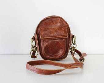 Vintage Leather Bag • Brown Leather Crossbody Bag • Organizer Purse • Small Crossbody Bag • 90s Purse • Small Leather Purse | B972