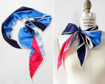 Echo Silk Scarf • Vintage Silk Scarf • Long Silk Scarf • Geometric Print Scarf • Silk Neck Scarf • Silk Neckerchief | SC312