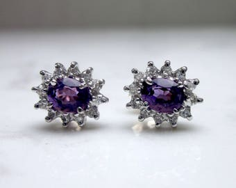 Estate 14k Solid White Gold Amethyst and Diamond Halo Pierced Stud Earrings