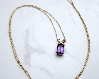 """Estate 14k Solid Yellow Gold Amethyst and Diamond Pendant Drop Necklace and 18"""" Inch 10k Yellow Gold Chain"""