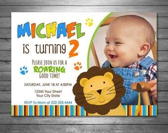 ON SALE Lion Birthday Invitation, Printable File