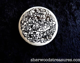 HELP! Fantastic Seventies  ECOLOGY Overcrowding Population Pinback Button