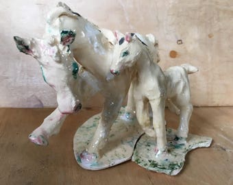 Momma and Baby: Mare and Foal, hand formed ceramic sculpture
