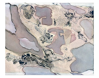 Pale purple watercolor art print, modern abstract wall art, topography inspired, Albicant Cloud