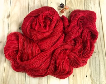 Banshee Tussah Silk Lace Yarn.  Firelight