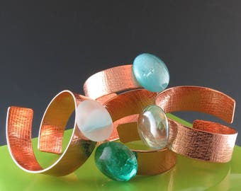 Copper Napkin Rings with Glass Cabochons