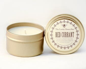 Red Currant || 6 oz Scented Candle || Soy + Beeswax Blend Candle in Gold Tin
