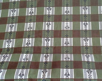 Green and Brown Checked Vintage Cotton Fabric 4 Yards X0896