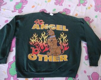 Vintage 90's Scooby Doo 90% Angel Cartoon shirt Green Crew Neck Sweatshirt Adult size XL