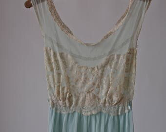 60'S Nightgown Dress Aqua Blue and Nude Sans Souci Negligee with Satin Tie
