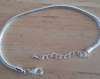 DESTASH - 3mm Snake Chain Bracelet For Large Hole Beads - 7.5 Inch with Extender Chain