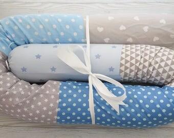 Baby Bed Bumper , Crib Bumpers , Baby Bumper , Snake Pillow , Bumper Bed Pillow , Star Print Pillow , Gray  Blue Baby Bedding , stars pillow