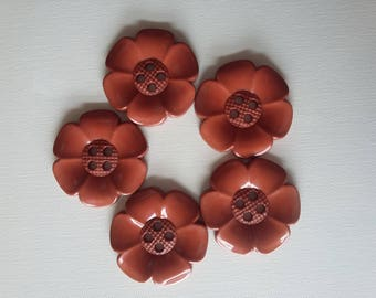Lot of 5 Extra Large Flower Buttons - Brown/rust