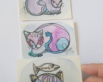 SPOILED BOY - SET of three original aceo drawings