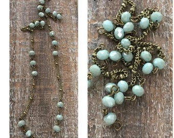 SALE Vintage Style Handmade Linked Layering Chain with Faceted 6mm Pale AQUA crystals  and Chain
