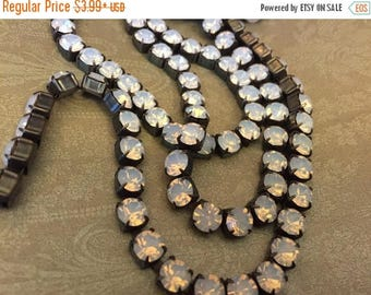 SALE Rustic Flea Market Style 6.1mm 29ss Large Chunky Dark Brown/blk Patina brass Rich MOONSTONE WHITE Opal Rhinestone crystal cup chain